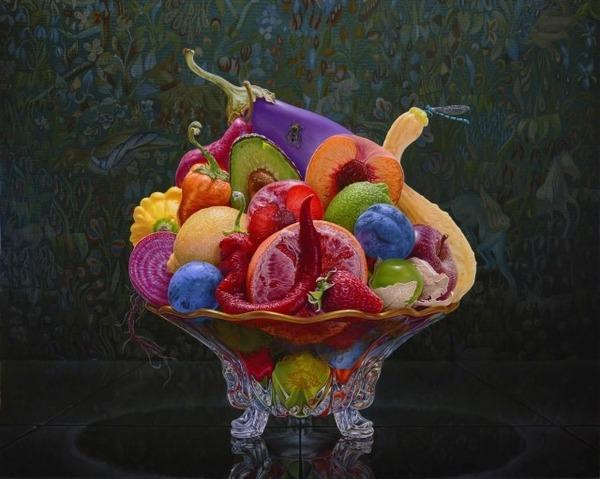 色鮮やかな果物と野菜の静物画,油絵 エリック・ワート 3