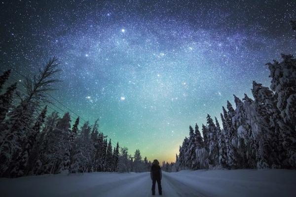 フィンランド北欧の美しい夜空。満天の星の画像 8