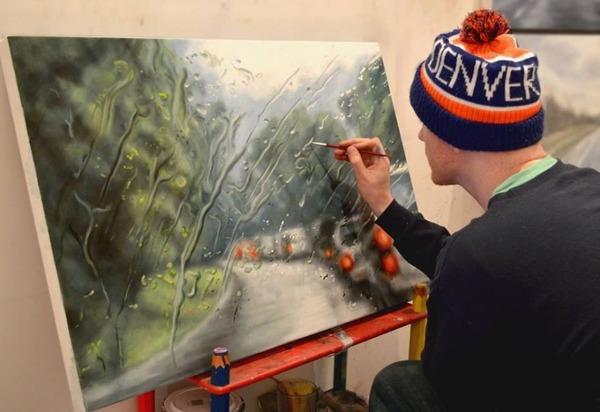 雨に濡れた車のフロントガラスから覗く世界を油絵で表現 (1)