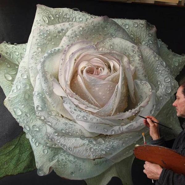 高精細!水滴をまとう写実的で美しいバラの花の油絵 (5)