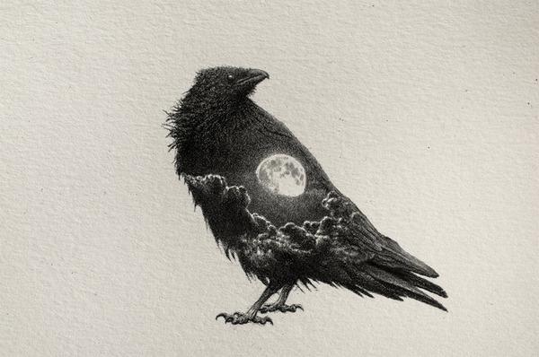 なんか神秘的。光と闇が描かれた小さなモノクロの絵シリーズ (3)