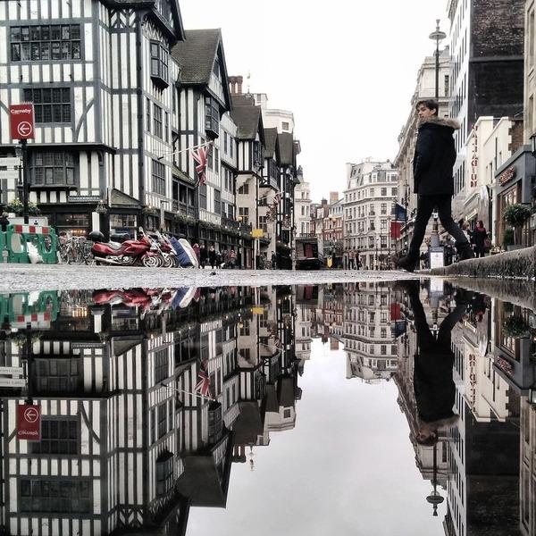 パラレルワールド!水たまりに反射する街の風景写真 (6)