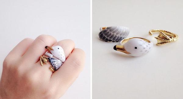 三つで一つの動物指輪。かわいいアニマルリング! (12)