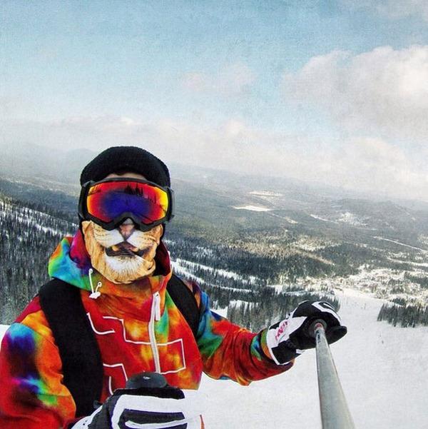 動物気分でスキー!動物の顔がプリントされたフェイスマスク (4)