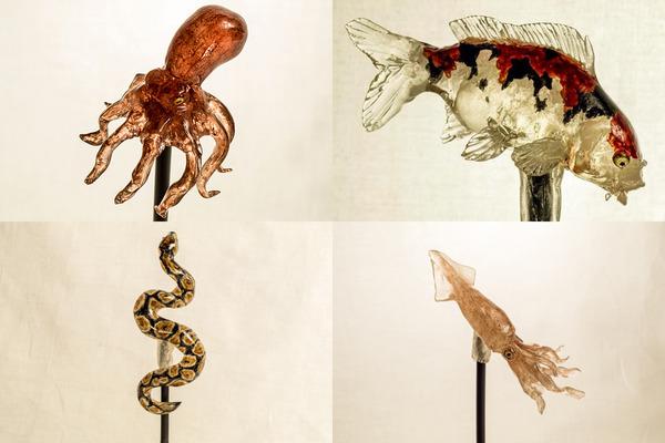 タコやヘビ、イカの飴細工
