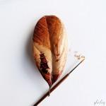 モーニングコーヒーで描く!枯葉の珈琲画
