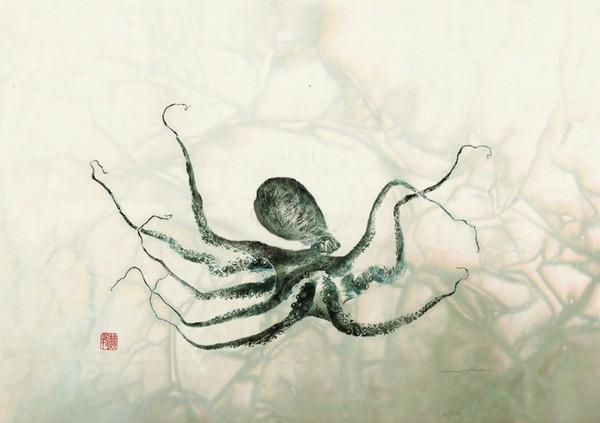 日本文化『魚拓』で描かれる海外アーティストによる絵画作品 (11)