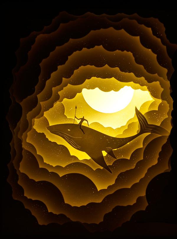紙のジオラマ!幻想的な架空世界を描くペーパーアート (4)