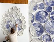 お皿をキャンバスにしたフィンガーペインティングによるアート!