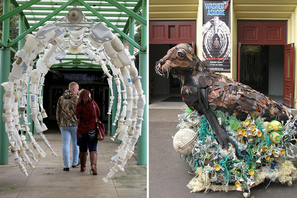 海岸で拾ったゴミで作られた海洋生物の巨大な彫刻 (12)