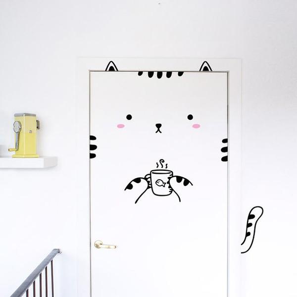 かわいい猫のドアステッカー