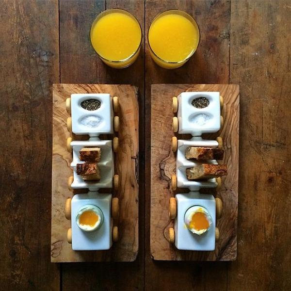 美味しさ2倍!毎日シンメトリーな朝食写真シリーズ (25)