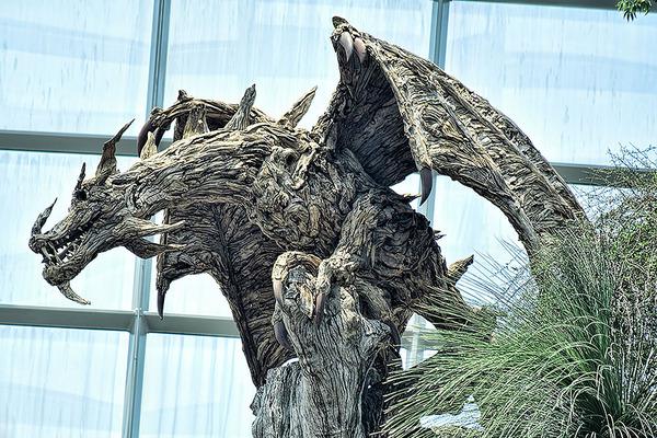 流木で作られたドラゴンの彫像,彫刻 7