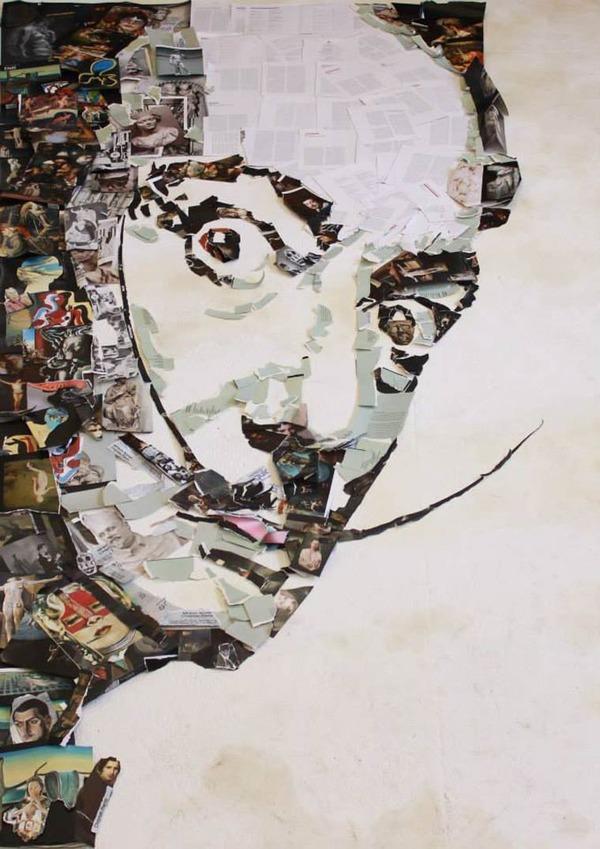 音楽機材や電子機械を積み上げて有名人の肖像画を描く! (10)