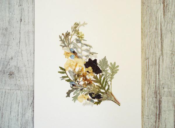 葉や花で自然を描く!植物を素材にした押し花の絵 (14)