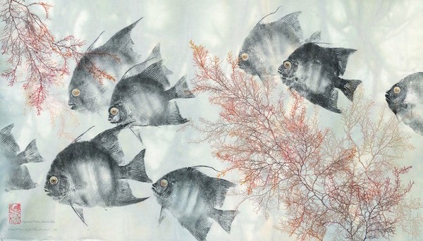 日本文化『魚拓』で描かれる海外アーティストによる絵画作品 (7)