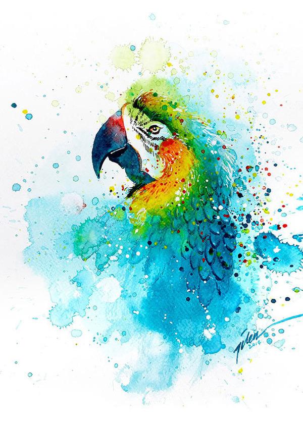 飛散する色彩と水滴!カラフルで可愛い小動物の水彩画 (9)