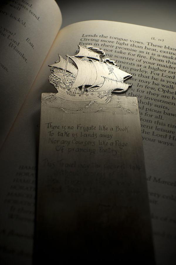 silverleaf 銀の彫刻が施された栞(しおり)2