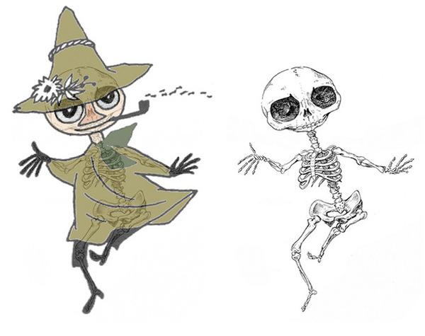 解剖学?漫画やアニメのキャラクターに骨付けしたイラスト! (12)