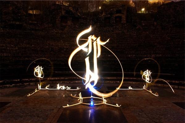 ライトペインティング,空間に描く光の書道 (3)