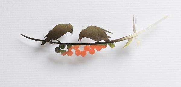 鳥の羽から切り取られた鳥類や動物のモチーフ (3)