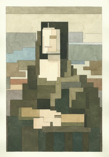 有名な絵画を図形で再構築して描いた彩画 (1)