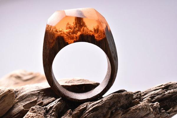 小さな世界が隠されている木と樹脂の指輪 (5)