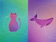 数学的な美しさ?13の円で描く動物たちのイラストレーション