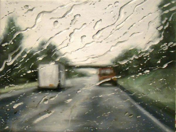 雨に濡れた車のフロントガラスから覗く世界を油絵で表現 (4)