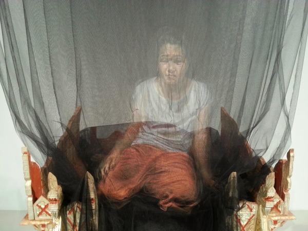 幽霊のように浮かぶ!薄手の生地に描かれた肖像画 (9)