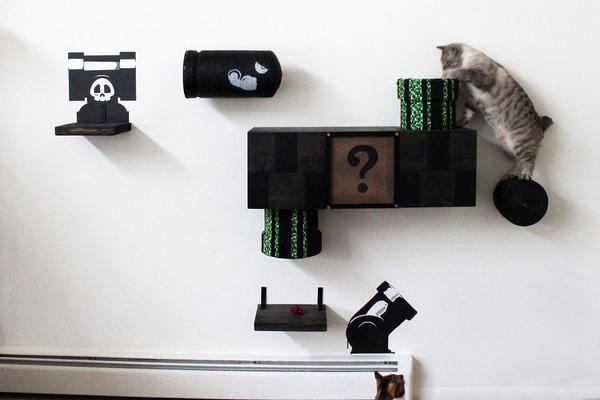 スーパーマリオのステージ風!猫用ジャングルジム(壁)(4)