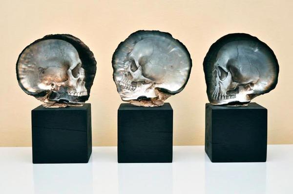 美しい質感。貝殻に髑髏(ドクロ)を彫った彫刻作品 (4)