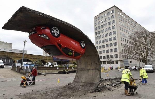 Alex Chinneck's Upside Down Car Installation in London 6