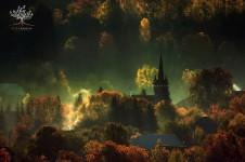 美しいトランシルヴァニアの雄大な森や山々、自然の風景写真