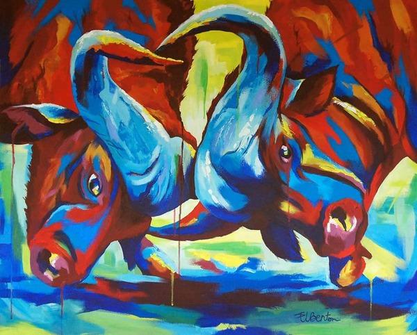 超カラフルな動物の肖像画シリーズ (8)