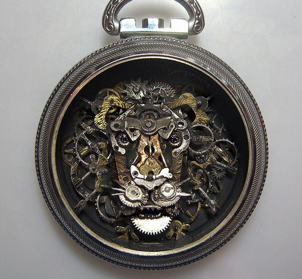 古い時計部品をリサイクルして作るスチームパンクな動物彫刻 (3)