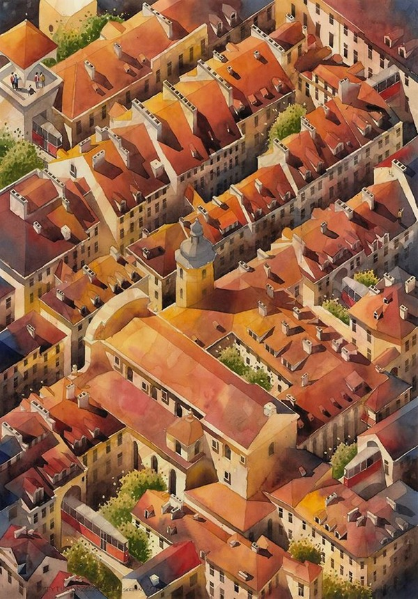 19世紀のポーランドの街並みに触発された都市の水彩画 (15)
