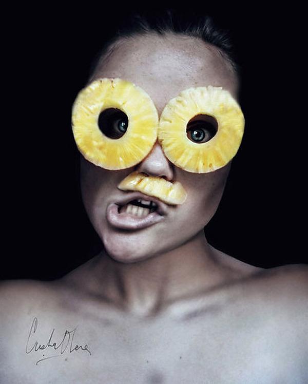 奇抜なフルーツメイク!果物に触発されたセルフポートレート (3)