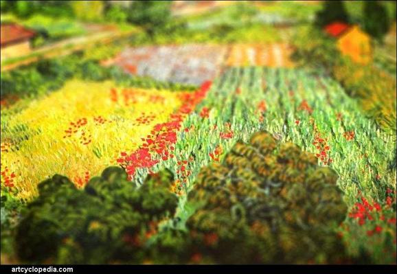 ゴッホの絵画にチルトシフトエフェクトをかける