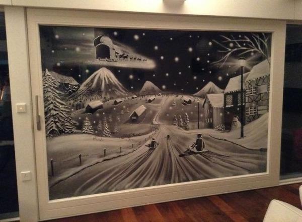 クリスマスシーズン!スノースプレーで窓に描く雪景色のアート (7)