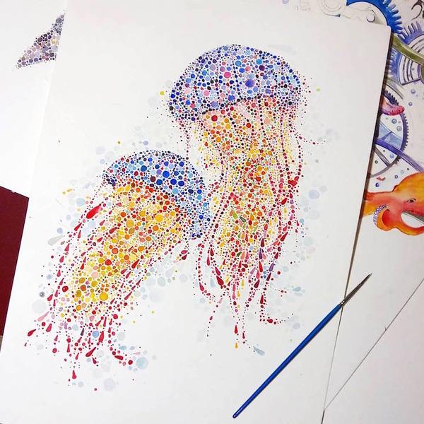 超カラフルな動物の水彩画!色とりどりの点によって描かれる (12)