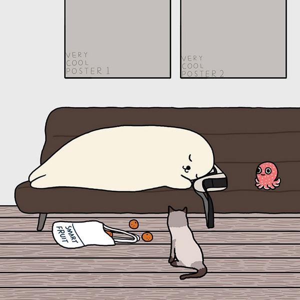 ゆ、ゆるすぎる!アザラシの日常生活を描いた癒されイラスト (30)