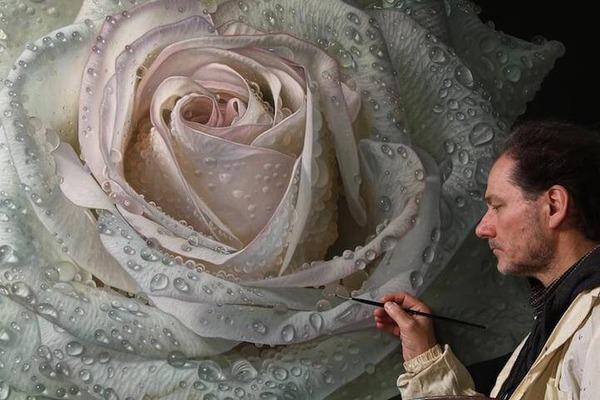 高精細!水滴をまとう写実的で美しいバラの花の油絵 (4)