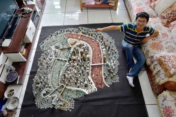 硬貨で作られた都市のレプリカ Peixi 4
