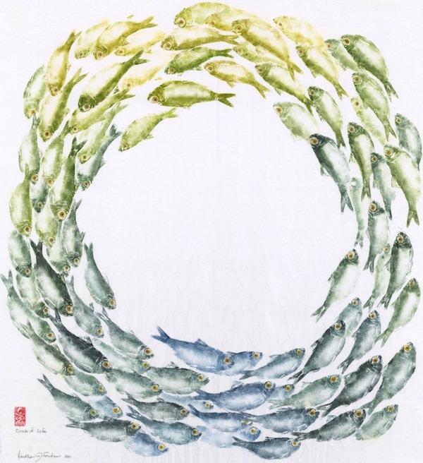 日本文化『魚拓』で描かれる海外アーティストによる絵画作品 (8)