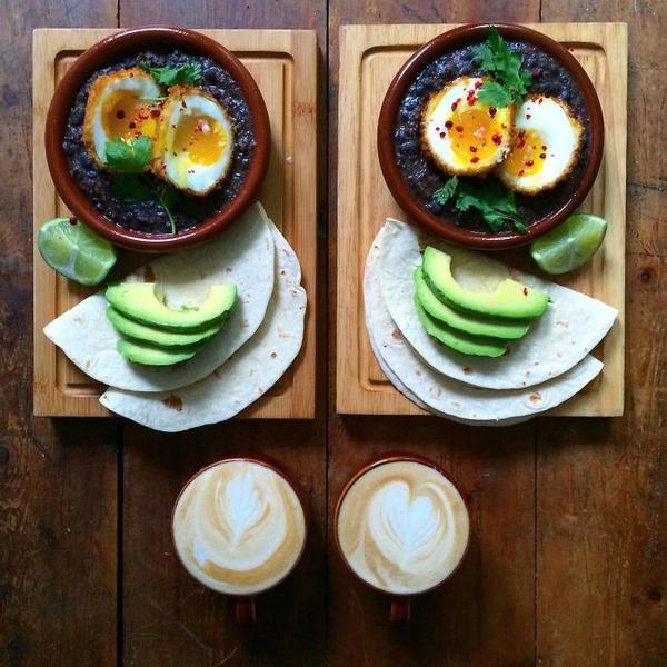 美味しさ2倍!毎日シンメトリーな朝食写真シリーズ (19)