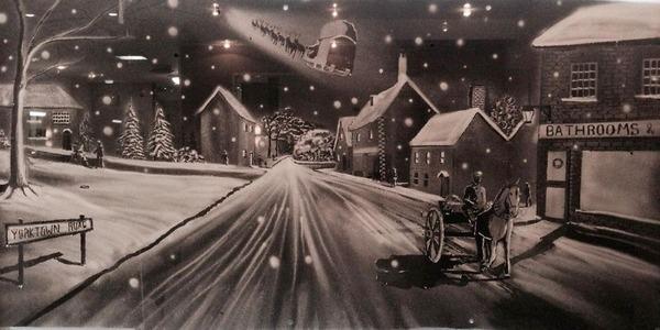 クリスマスシーズン!スノースプレーで窓に描く雪景色のアート (10)