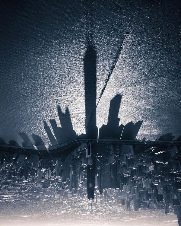 ミシガン湖に反射するシカゴのスカイラインの影が格好良い! (1)