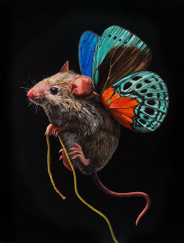 蝶々の羽が生えたネズミやリス小動物を描いた絵 (9)
