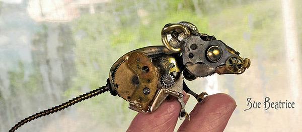 古い時計部品をリサイクルして作るスチームパンクな動物彫刻 (7)